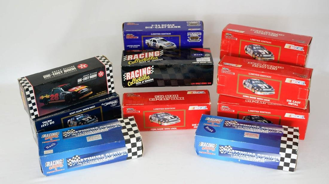 Group of 10 NASCAR Die-Cast Race Car Banks