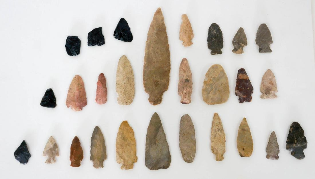 Group of Twenty Seven Stone Arrowheads, Points