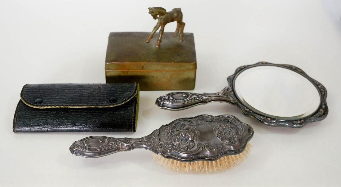 Group of Vintage Vanity Items, SP Hand Mirror - 2