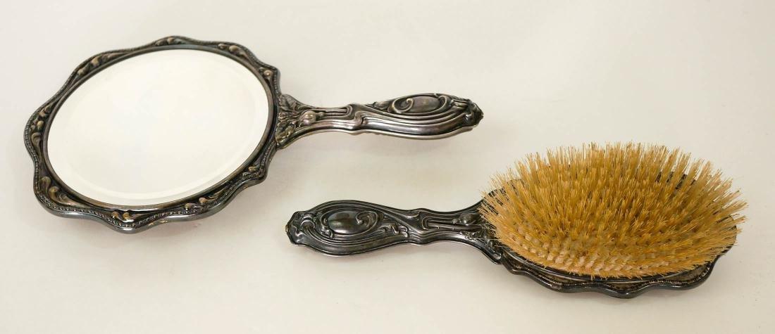 Group of Vintage Vanity Items, SP Hand Mirror - 6