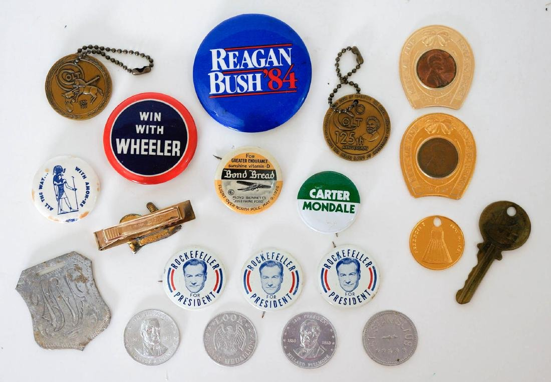 Group of Vintage Political Pinback Buttons, etc.