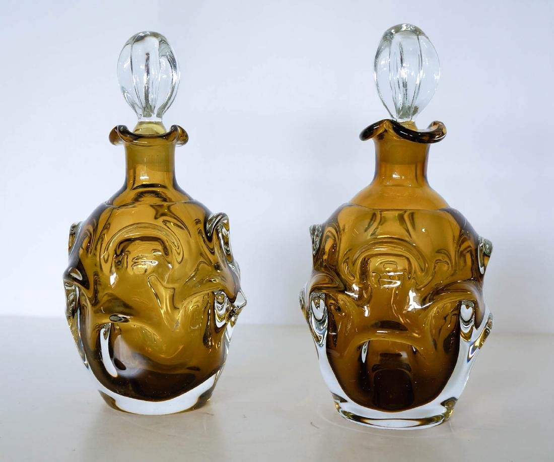 Pair of Mid-Century Crystal Decanters