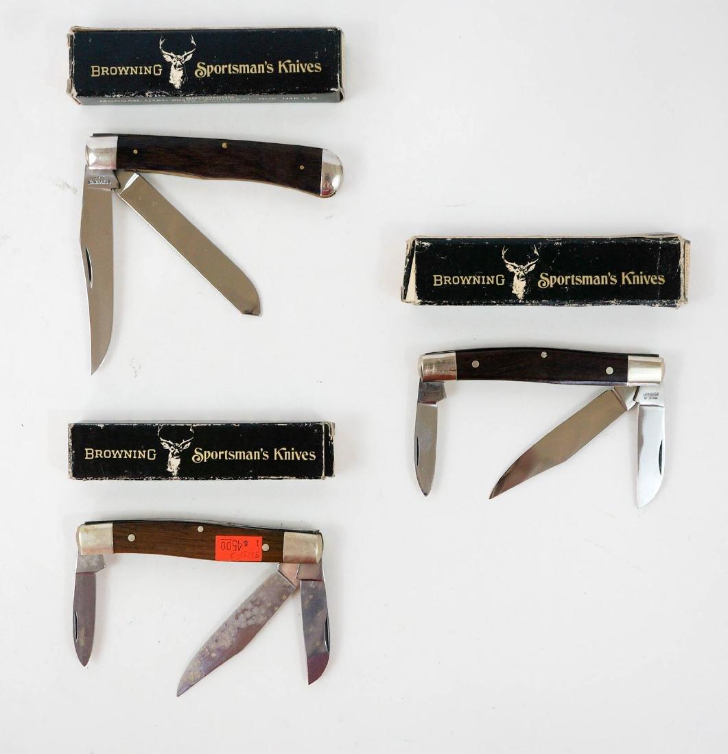 Three Browning Vintage Pocket Knives Unused