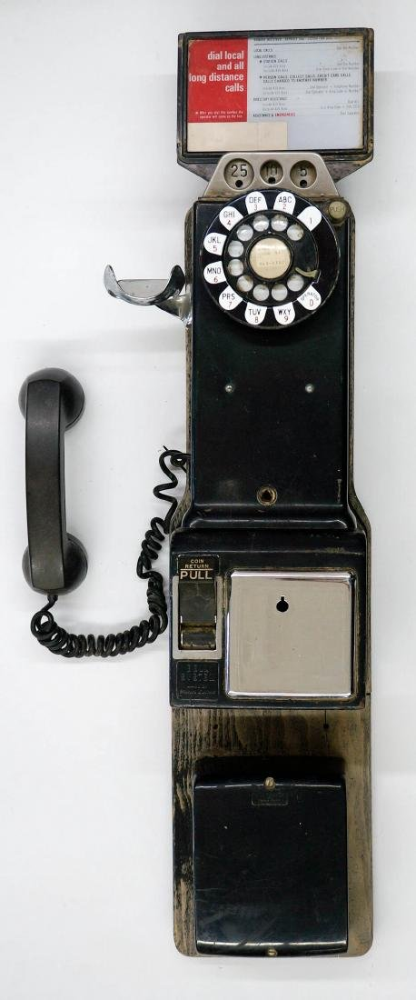 Vintage Bell System Three Slot Coin Op Wall Phone