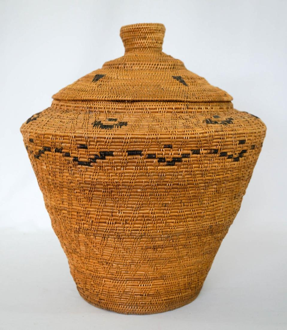 Large Covered Coiled Native Basket