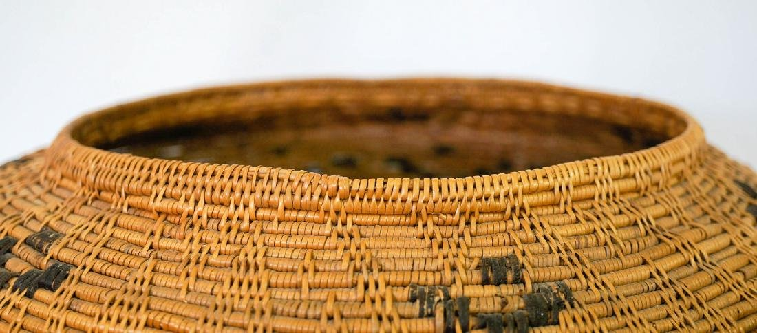 Large Covered Coiled Native Basket - 4