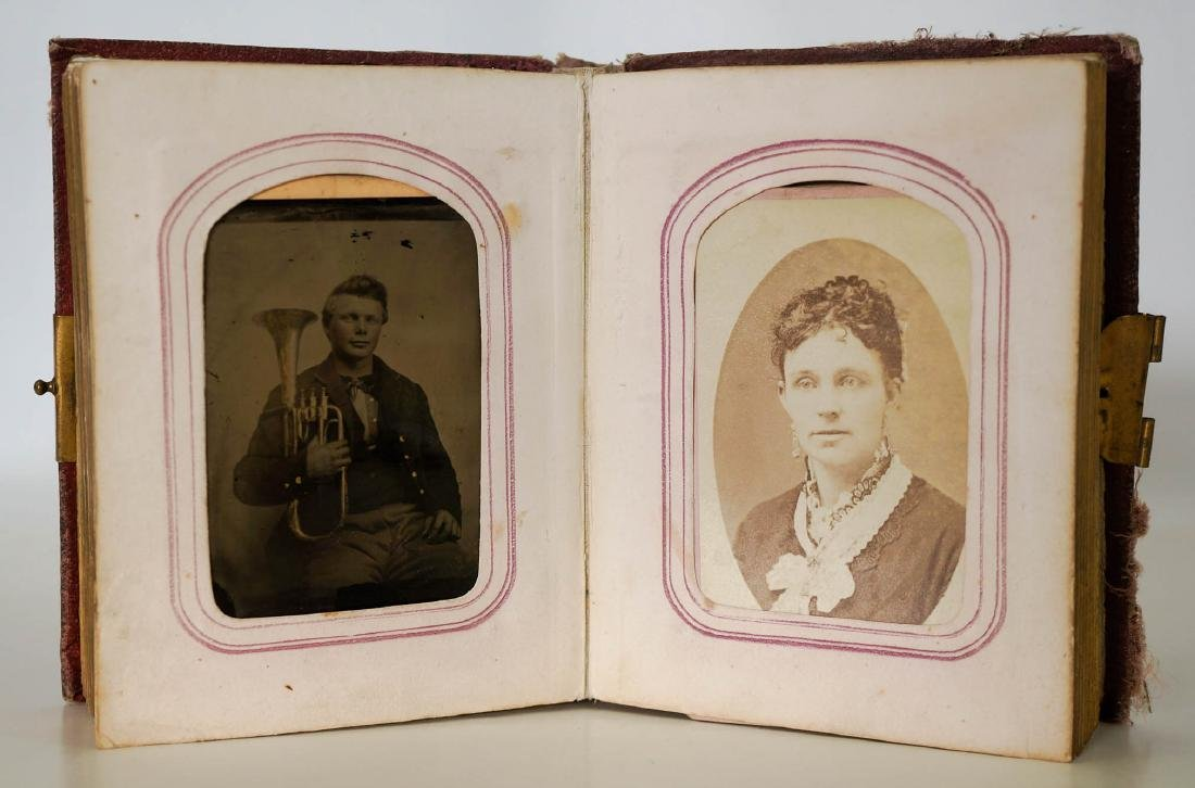 Antique Photo Album with Civil War Musician Image