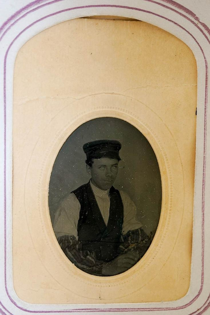 Antique Photo Album with Civil War Musician Image - 6