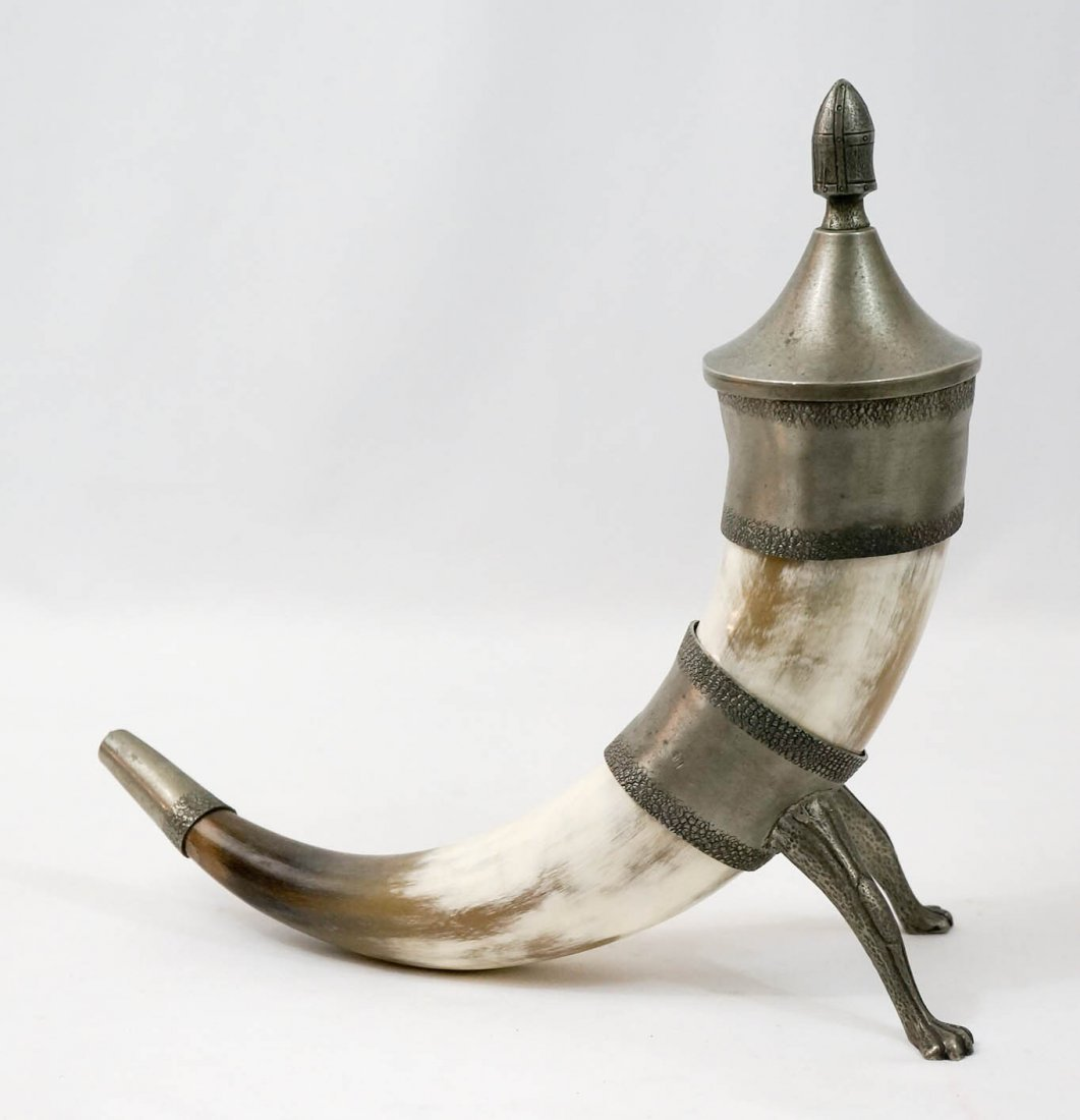 Norwegian Pewter and Horn Drinking Cup