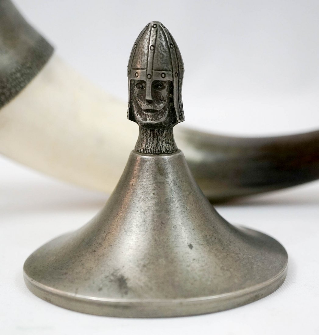 Norwegian Pewter and Horn Drinking Cup - 3