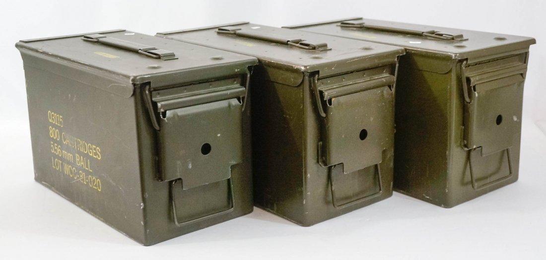 Three Metal Ammo Boxes