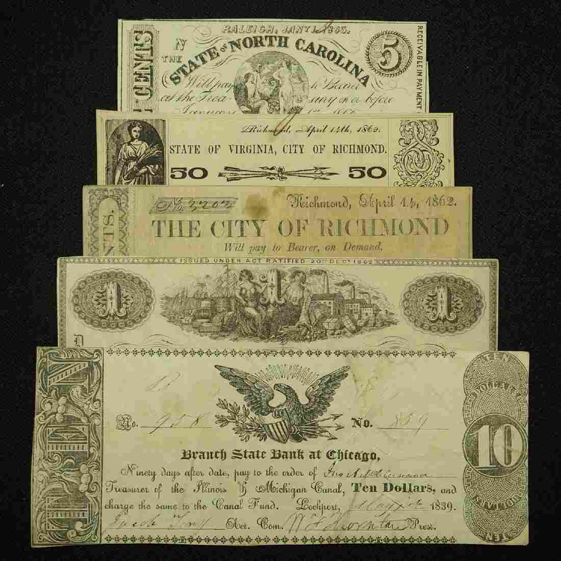 Five Antique Bank Notes, North Carolina and Others