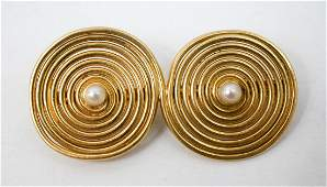 18k Yellow Gold Modernist Pin with Pearls, 9 Grams