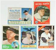 Five Vintage Mickey Mantle Baseball Cards