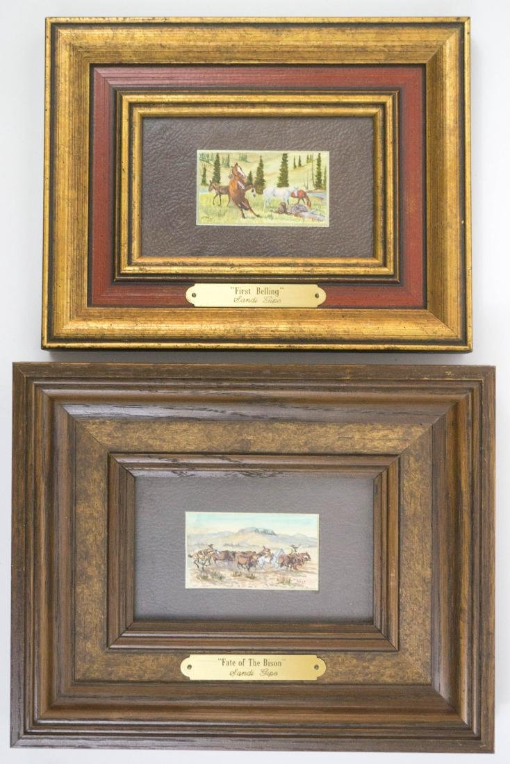 Sandi Gipe Framed Miniature Paintings, Pair