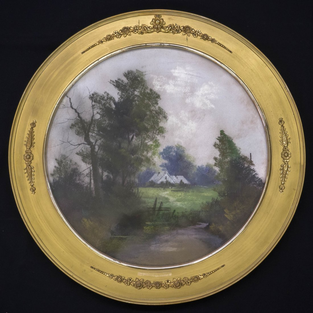 Antique Round Framed Pastel Painting