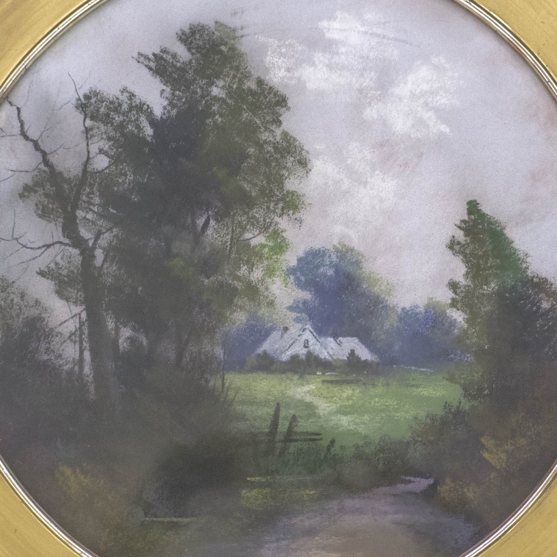 Antique Round Framed Pastel Painting - 2