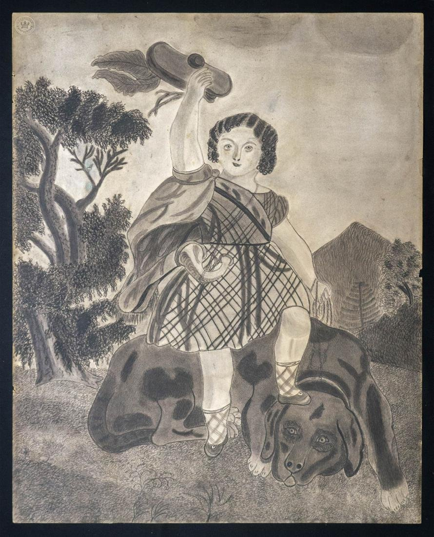 Antique Folk Art Drawing Girl with Dog