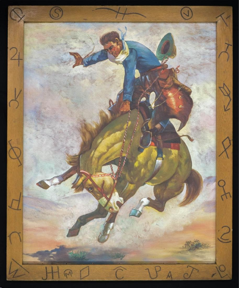 A Large Vintage Oil Painting of Bronco Buster
