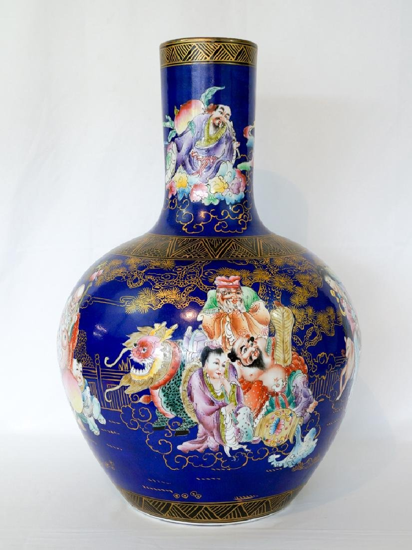 Chinese Floor Vase with Figures and Cobalt Field