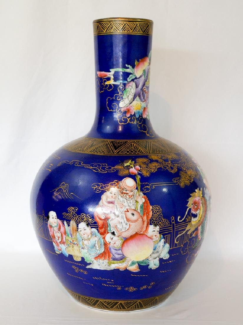 Chinese Floor Vase with Figures and Cobalt Field - 2