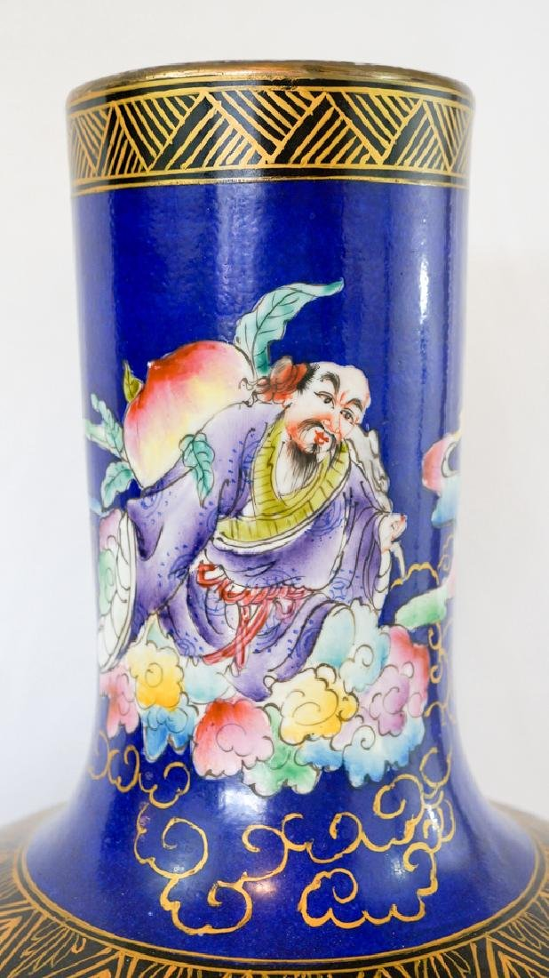 Chinese Floor Vase with Figures and Cobalt Field - 5
