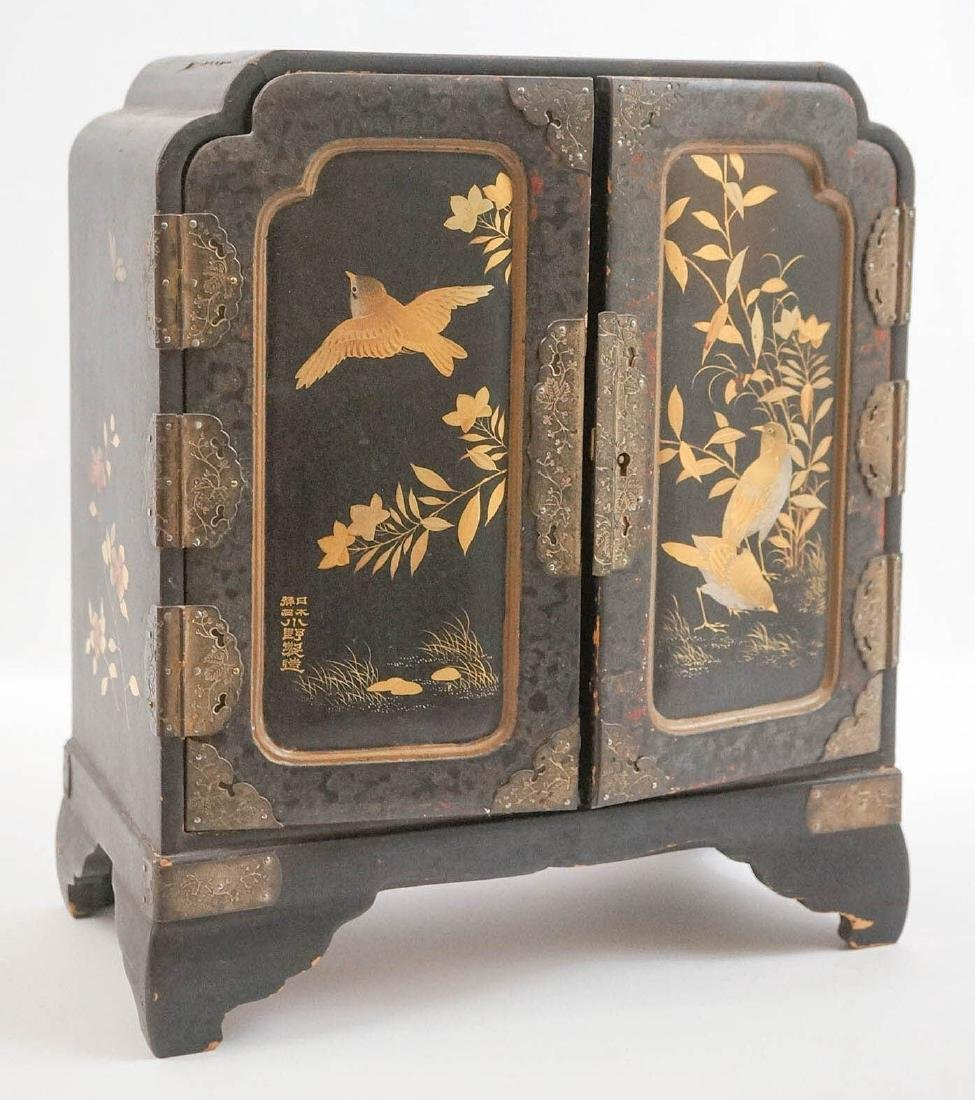 Signed Chinese Black Lacquer Jewelry Chest