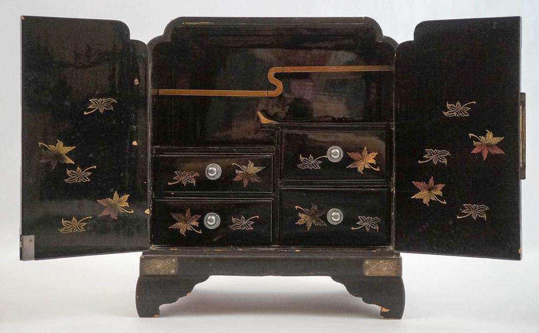 Signed Chinese Black Lacquer Jewelry Chest - 2