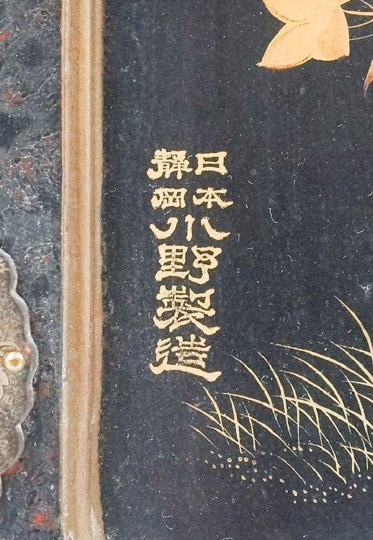Signed Chinese Black Lacquer Jewelry Chest - 3