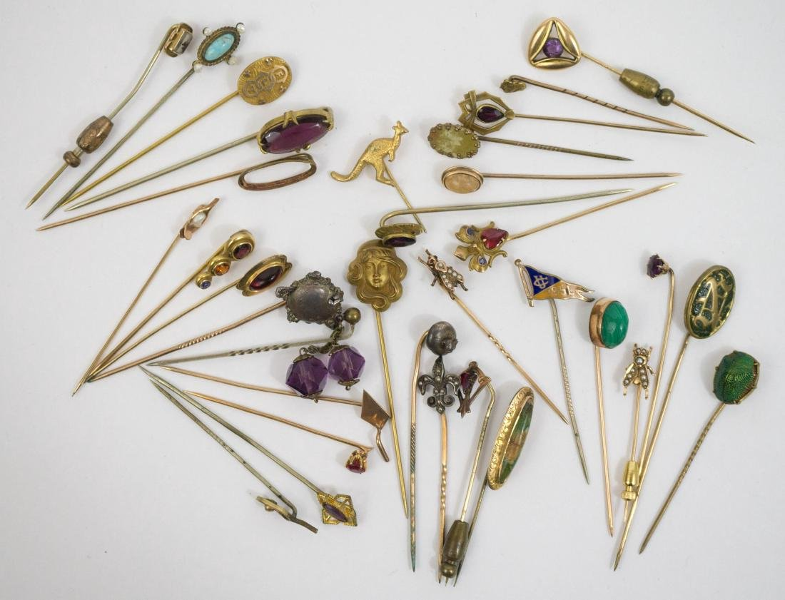 Group of Thirty-Four Antique Gold Stickpins