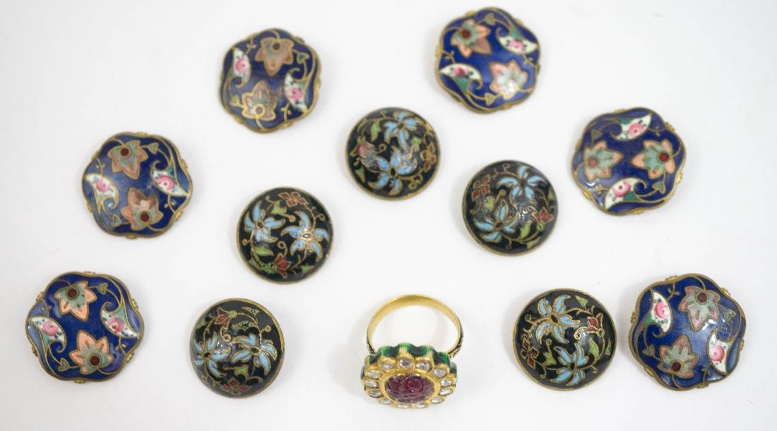 Two Cloisonne Button Sets, Ring