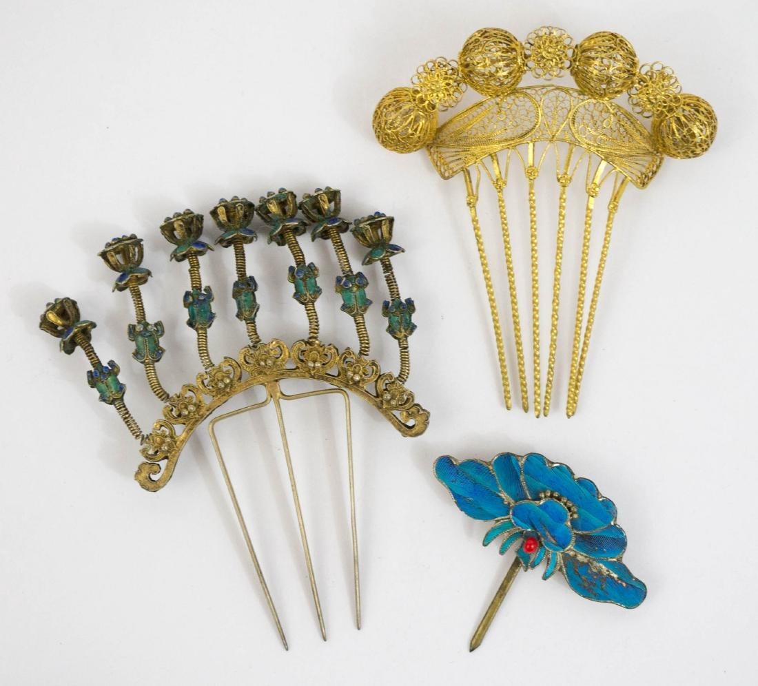 Antique Chinese Ornate Enamel Hairpins