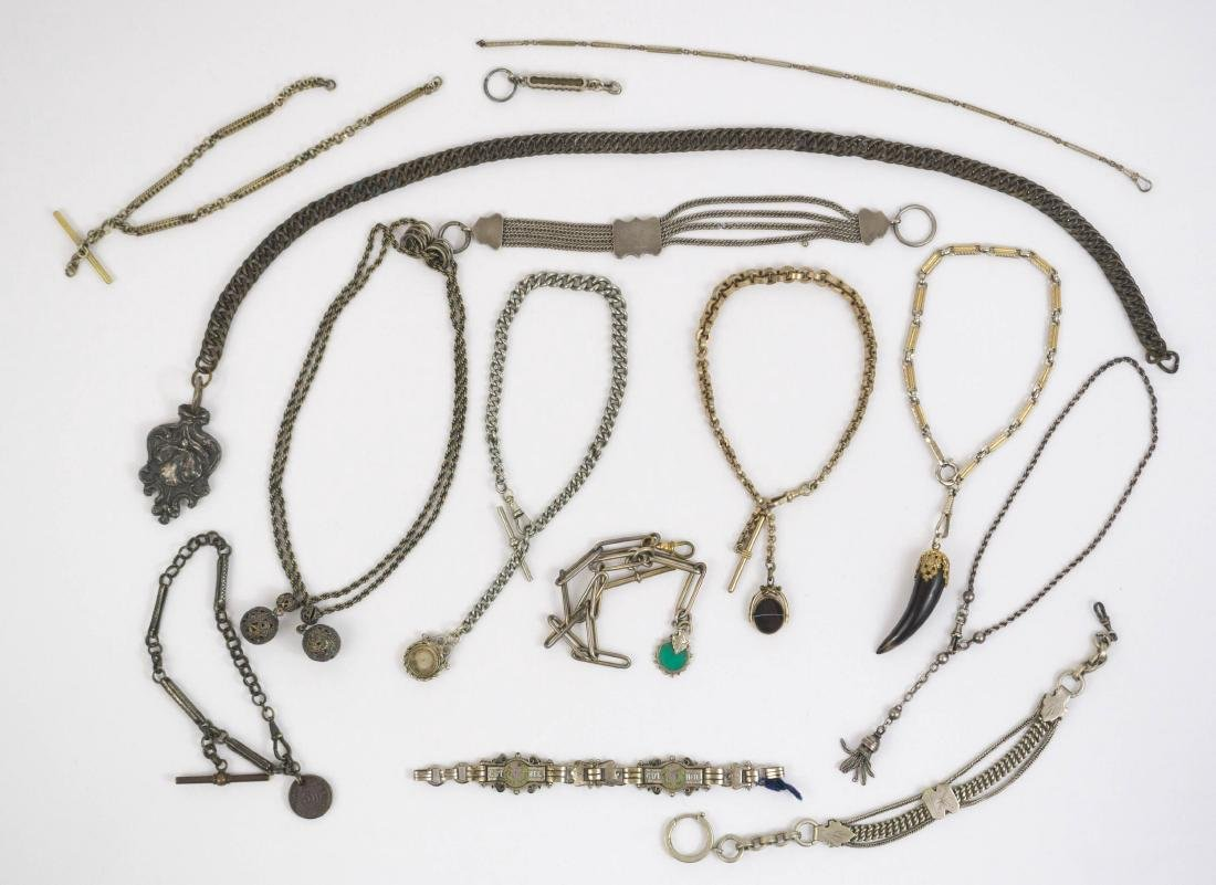 Group of Twelve Antique Watch Chains and Fobs