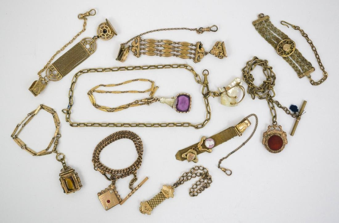 Group of Ten Antique Gold Filled Watch Fobs