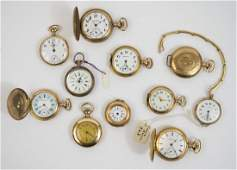 Eleven Antique Ladies Gold Filled Pocket Watches