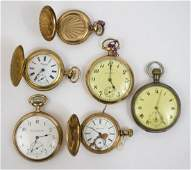 Six Antique Gold Filled Pocket Watches