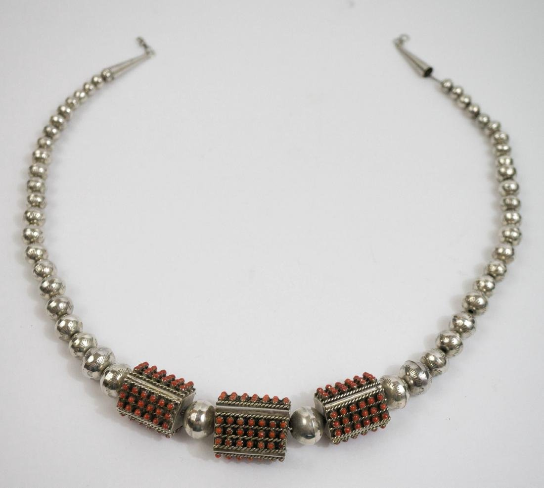 Zuni Silver and Coral Necklace