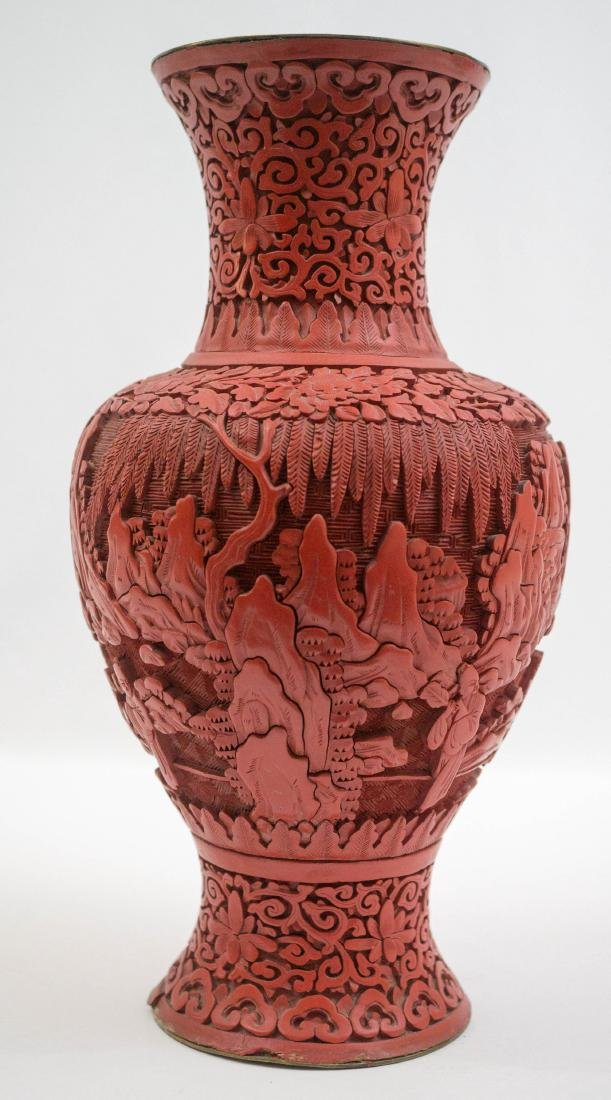 An Old Chinese Cinnabar Vase - 2