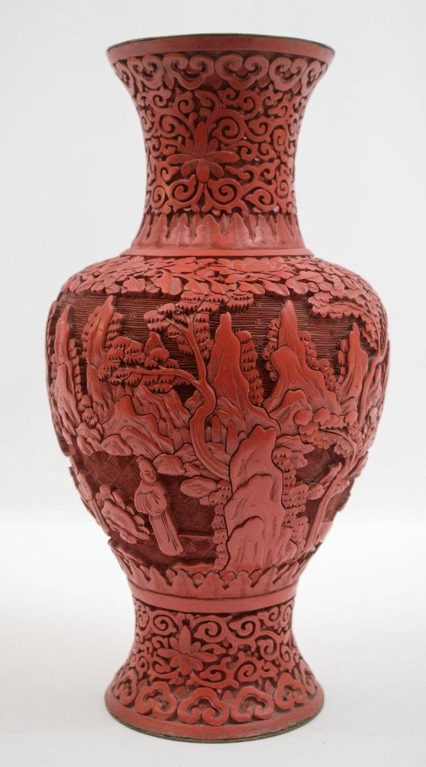 An Old Chinese Cinnabar Vase - 3