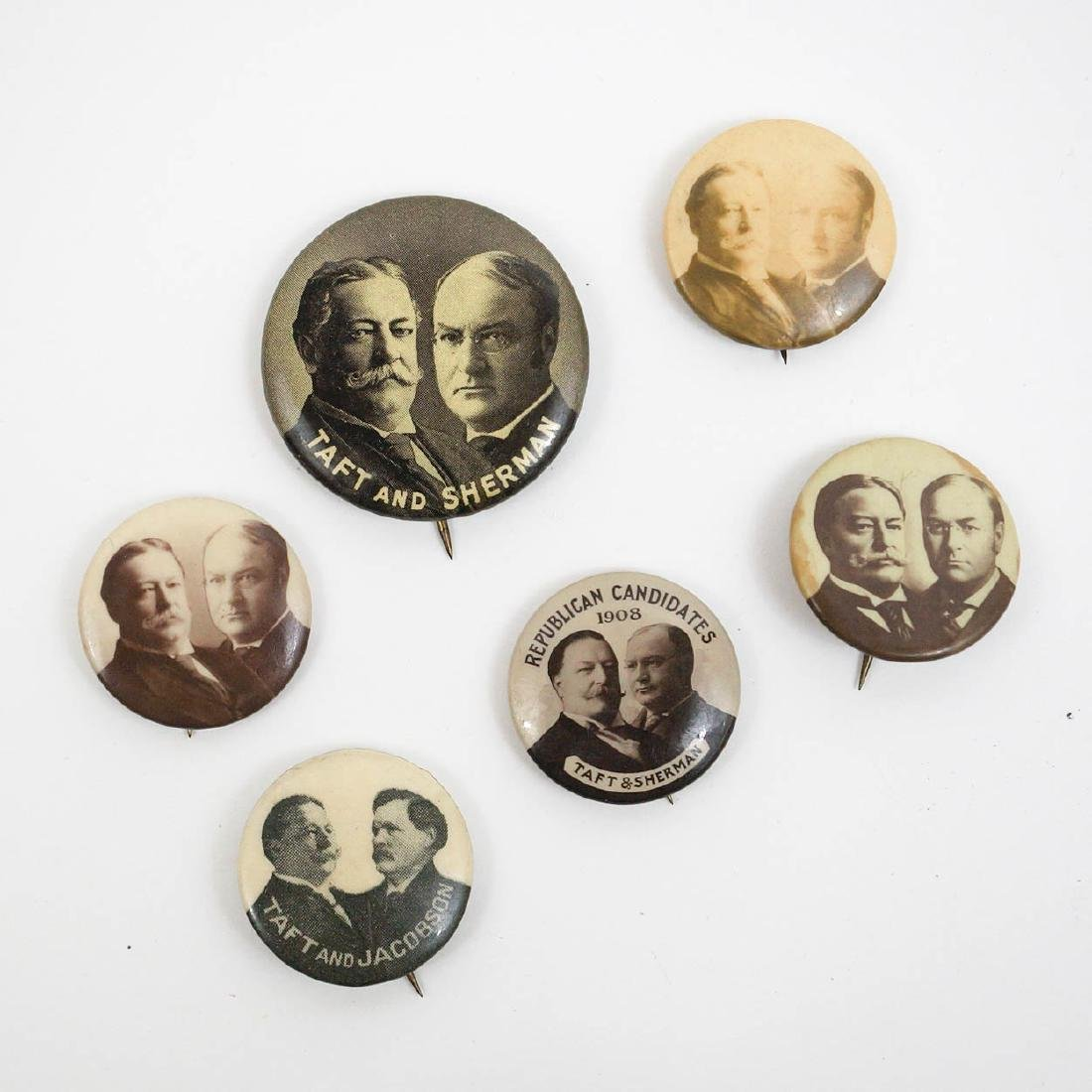 William Taft Group of Six Jugate Campaign Buttons