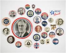 Franklin D. Roosevelt Group Twenty Eight Buttons