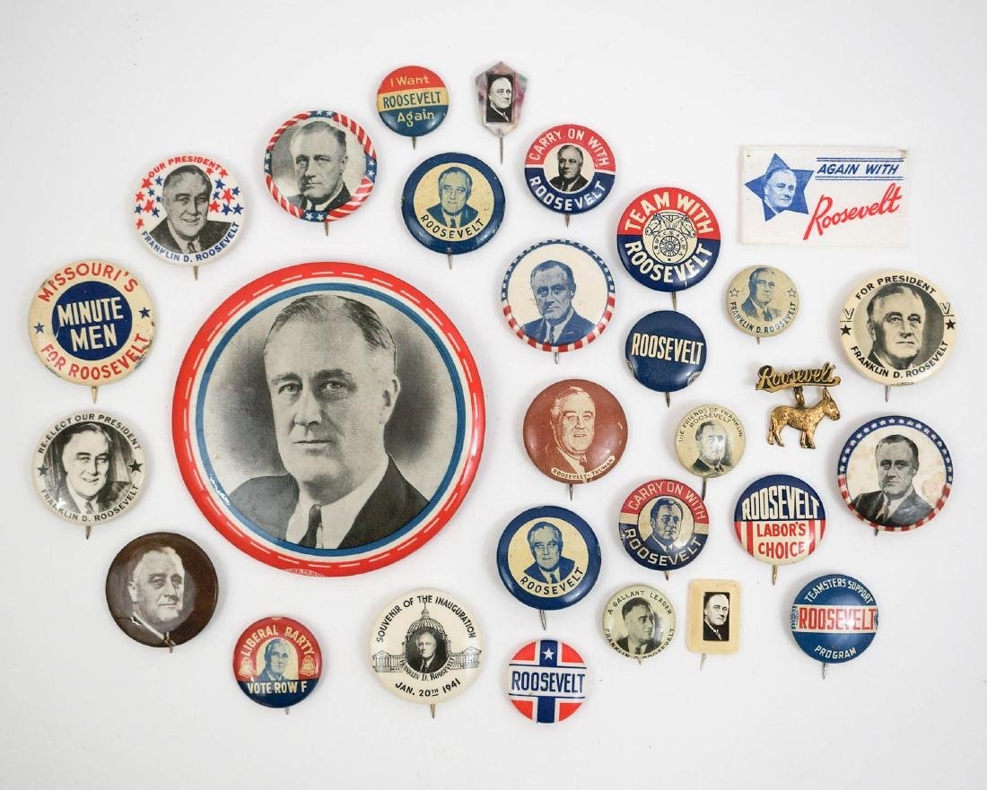Franklin D. Roosevelt Group Twenty Eight Buttons