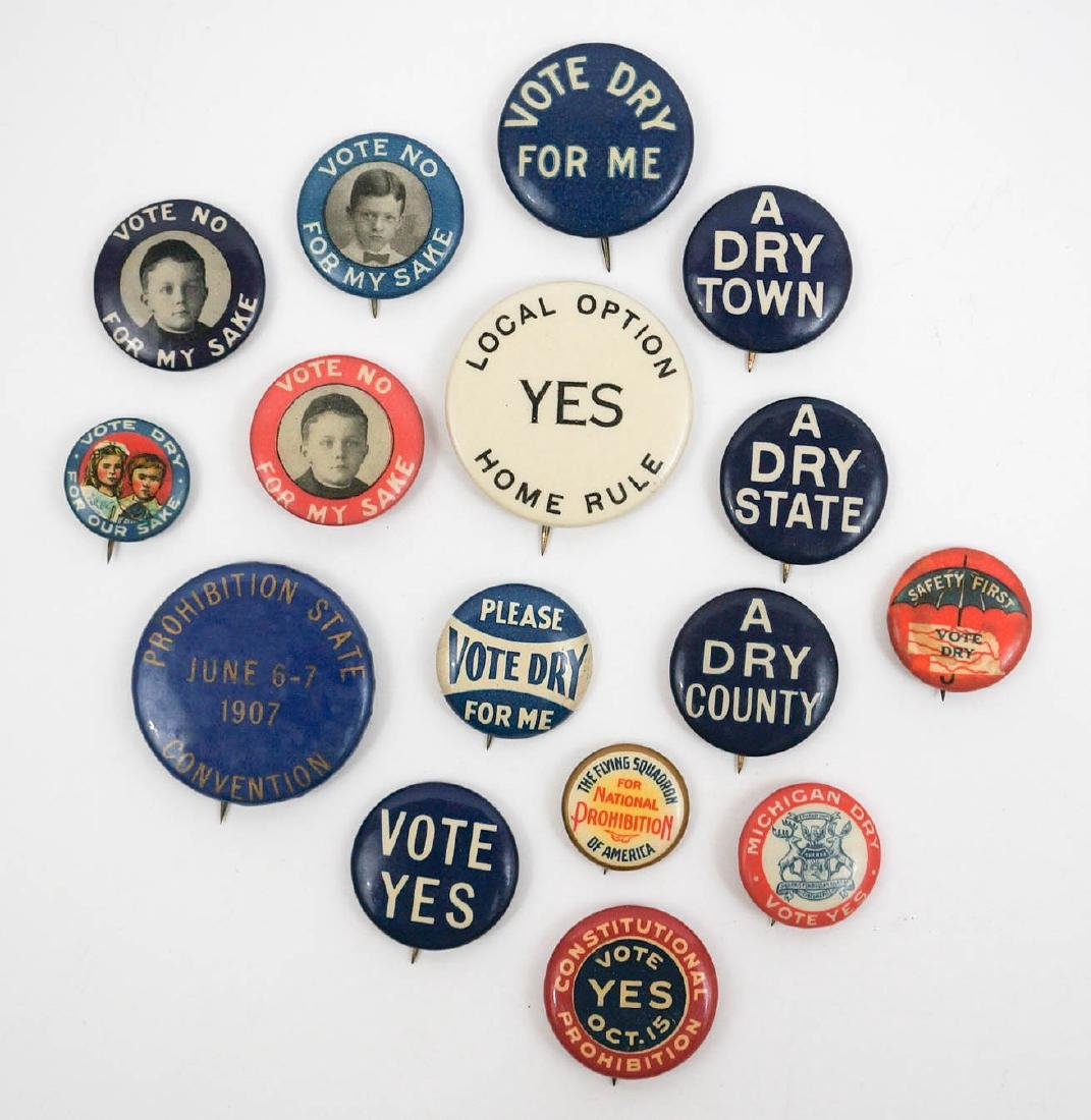 Prohibition Group of Sixteen Pinback Buttons