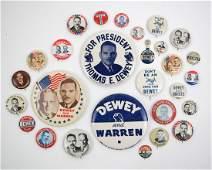 Thomas Dewey Group of Twenty-Eight Pinback Buttons
