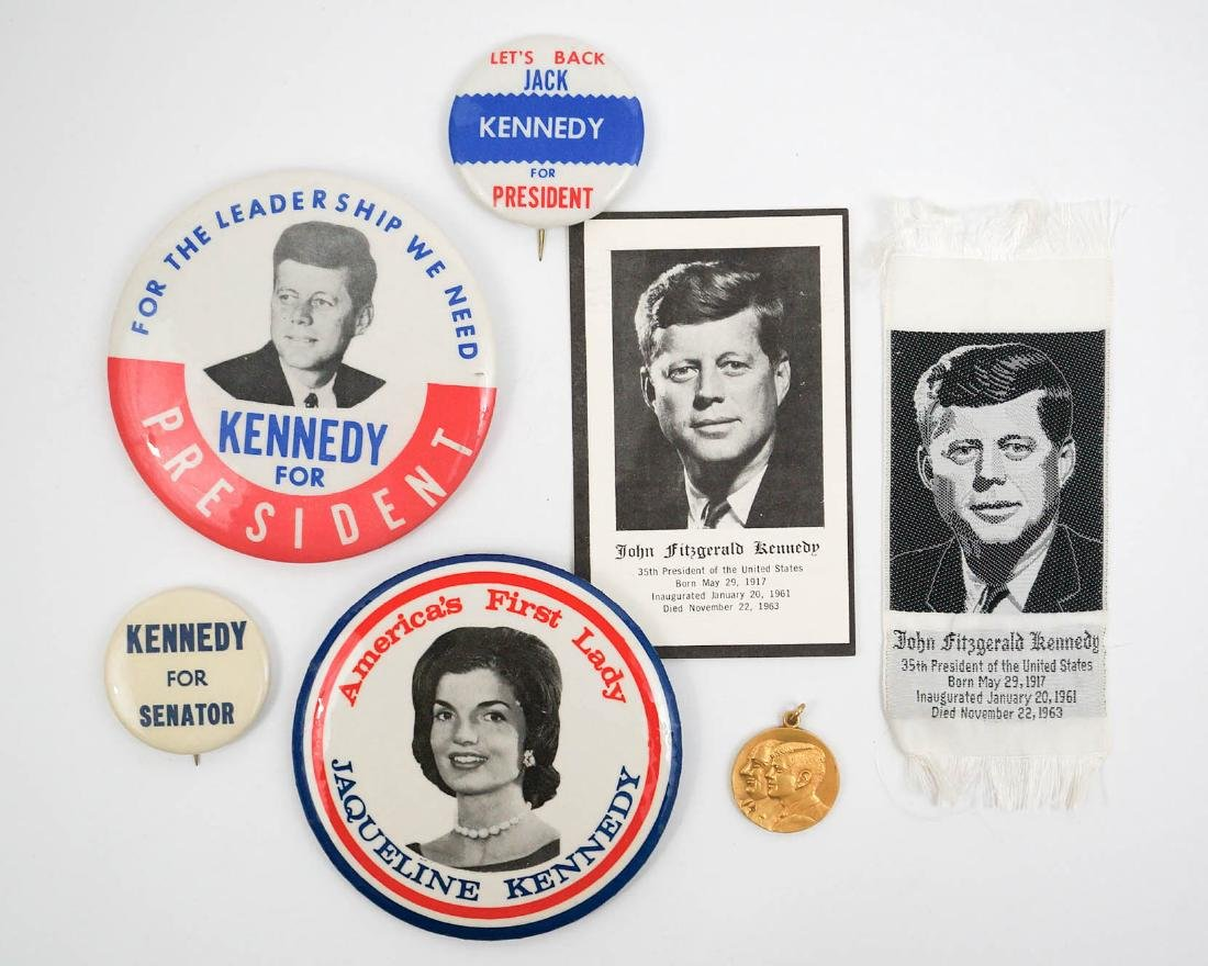 JFK John F. Kennedy Pinback Buttons and Silk