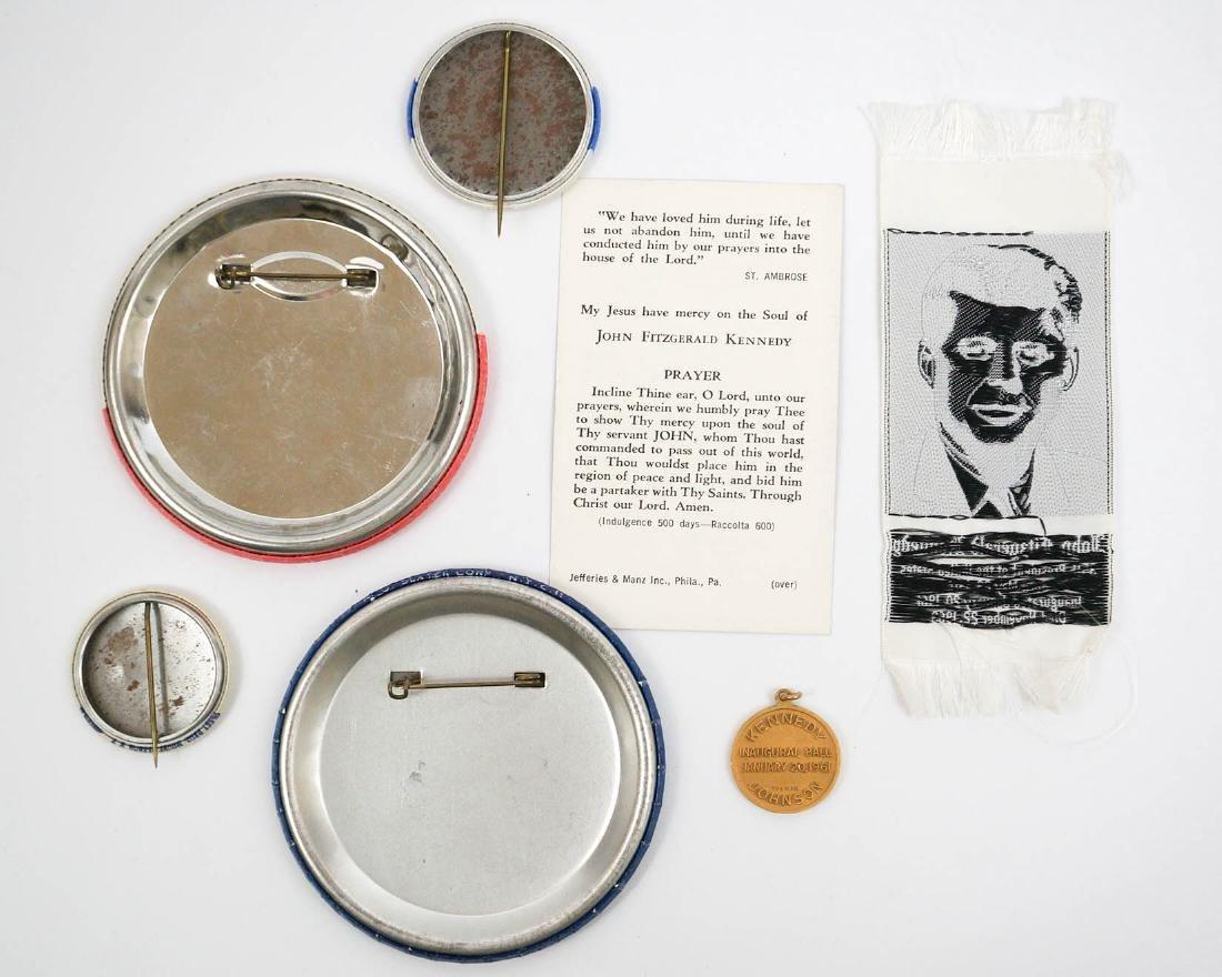 JFK John F. Kennedy Pinback Buttons and Silk - 2