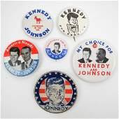 John F Kennedy Group of Six Pinback Buttons