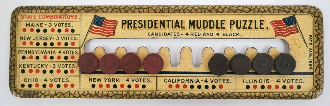 Presidential Muddle Puzzle Patented 1894 Tin Litho