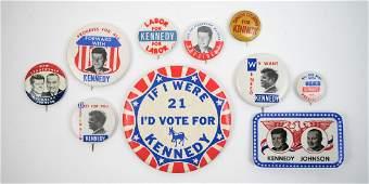 John F Kennedy Group Ten Pinback Buttons