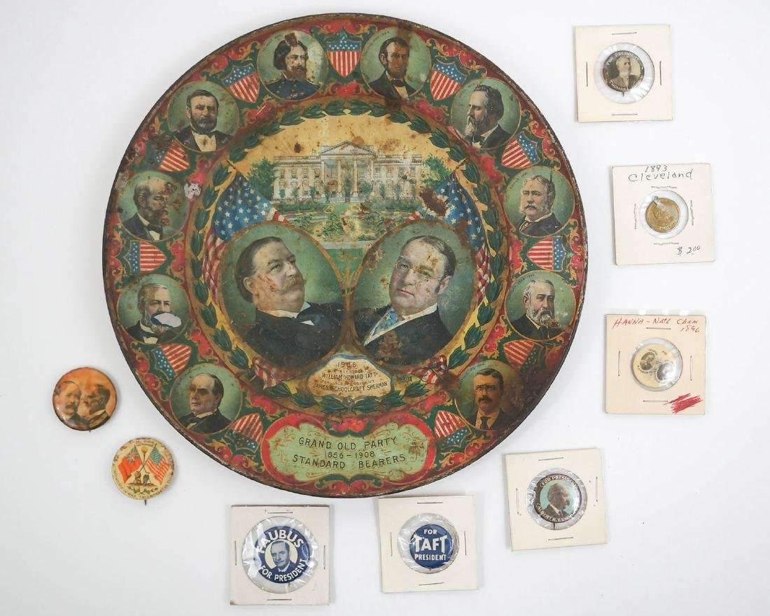 Antique Political Pinback Buttons and Taft Tray